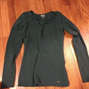 Dark green hollister lace up long sleeve small